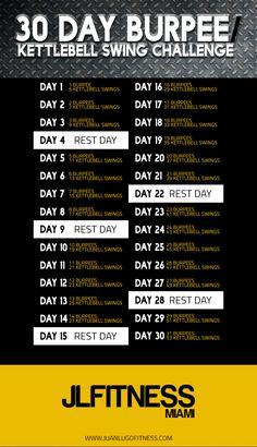 Burpee/Kettlebell Swing 30 Day Challenge