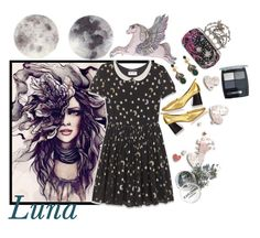 """""""Luna"""" by crazysupernatural ❤ liked on Polyvore featuring Yves Saint Laurent, CÉLINE, Gucci, Silken Favours, Alexander McQueen and Isadora"""