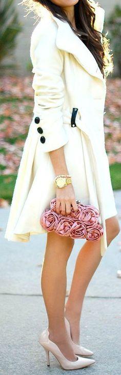 Street style chic/karen cox...Stunning white coat