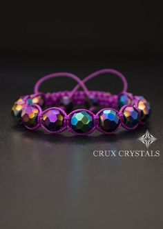Purple Star, Party Bracelet, Natural Stone Shamballa Bracelet, Women's Bracelet, Purple Bracelet, Crux Crystals - Colored Glass Crystal