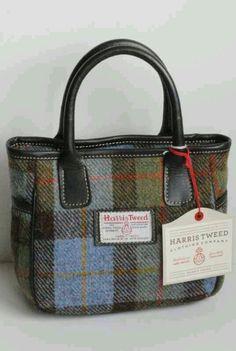 Mull Harris Tweed handbag in lovat tartan with leather trim Types Of Bag, Fabric Bags, Harris Tweed, Tartan Plaid, Beautiful Bags, Diaper Bag, Purses And Bags, Textiles, Tote Bag