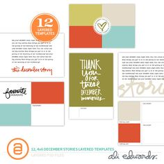 December Stories 4x6 Layered Templates by Ali Edwards #decemberdaily