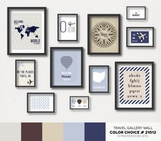 Travel Nursery Gallery Wall - Color Choice #21012 | Neutrals - Blues and Browns