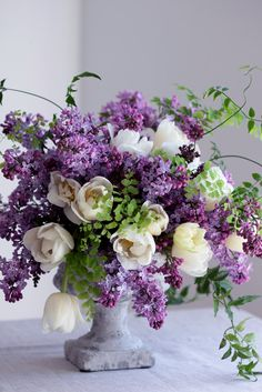 Lilacs and Tulips Beautiful Flower Arrangements, Silk Flowers, Floral Arrangements, Beautiful Flowers, Spring Flower Arrangements, Orchid Flowers, Deco Floral, Gerbera, Floral Centerpieces