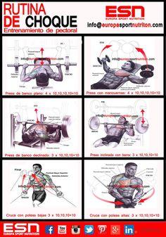 Rutina de choque tirón - empujón y alta frecuencia Tendríamos que definirlo como rutina de volumen aunque con una buena nutrición se puede definir también con esta rutina de entrenamiento descomunal Debes descansar un minuto entre series y de dos a tres minutos entre ejercicios. Realiza de 20′ a 30′ de ejercicio cardiovascular después de la rutina de pesas. Si eres ectomorfo puedes realizar unicamente 10′(Delgado) de ejercicio cardiovascular para eliminar toxinas y favorecer la recuperación.