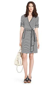 Faith Stitch Detail Striped Wrap Dress in Horizontal Simple Stripe White by DVF