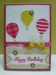 """HAPPY HEART CARDS: STAMPIN' UP!'S """"UP, UP & AWAY"""" IN GIRLY IN-COLORS"""