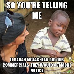 Skeptical 3rd World Kid - So You're telling me if sarah mclachlan did our commercials, they would get more notice