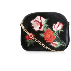 New Look Black Floral Embroidered Across Body Bag (385 MXN) ❤ liked on Polyvore featuring bags, handbags, shoulder bags, black pattern, new look handbags, chain purse, chain strap shoulder bag, print purse and cross body