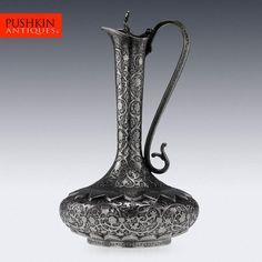ANTIQUE 20thC INDIAN SOLID SILVER HEAVY SHAWL PATTERN EWER JUG, KASHMIR c.1890