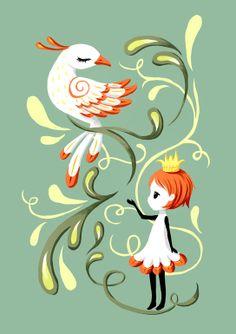 "Saatchi Online Artist: Indrė Bankauskaitė; Painting New Media ""Princess and a Bird"""