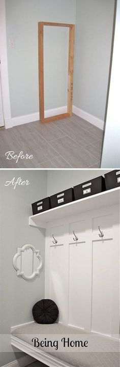 Mudroom Entryway Makeover with a DIY Bench.