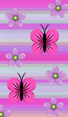Pink and Purple Butterflies and Flowers Wallpaper Flower Background Wallpaper, Flower Phone Wallpaper, Phone Screen Wallpaper, Butterfly Wallpaper, Heart Wallpaper, Butterfly Flowers, Love Wallpaper, Flower Backgrounds, Colorful Wallpaper