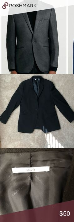 Calvin Klein textured suit jacket Black textured suit jacket. Says slim fit but fits more like a classic fit. I don't think my boyfriend ever wore it. Black. Size large-xl Calvin Klein Suits & Blazers