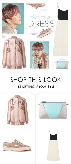"""Two-Tone Dress: We'll be the lucky ones..."" by lydiarts ❤ liked on Polyvore featuring STELLA McCARTNEY, Jil Sander, Superga, Narciso Rodriguez, kpop, mint, rosegold, EXO and twotonedress"