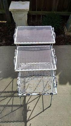 Vtg Mid Century Modern Wrought Iron Nesting Tables Metal Mesh Patio  #MidCenturyModern