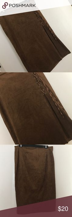 New York & Company Suede-like Skirt Beautiful New York & Company skirt worn twice. Suede-like fabric, long slit, lace up. Size 8 women's. New York & Company Skirts