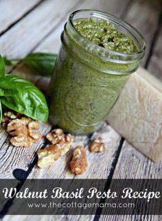 Walnut Basil Pesto Recipe. www.thecottagemama.com