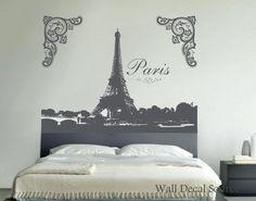 Eiffel Tower Wall Art paris skyline silhouette wall decal - paris wall art - eiffel