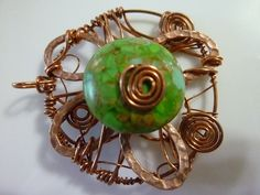 Green Turquoise Abstract Flower Wire Wrapped by kellyscraftitems, $12.00