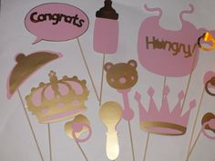 LITTLE PRINCESS  photo booth props gold teal by flutterbugfrenzy, $29.25