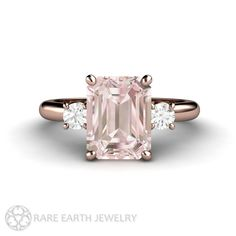 2ct Pink Morganite Ring Engagement Ring Emerald cut Morganite 3 Stone Style with Conflict Free  Diamonds 14K or 18K Rose Gold Wedding Ring by RareEarth on Etsy https://www.etsy.com/listing/209396661/2ct-pink-morganite-ring-engagement-ring