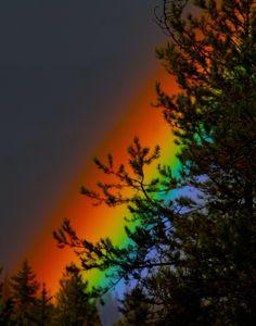Twilight Rainbow ~ vivid rainbow over Glacier National Park's Apgar Range just before twilight. Photo by RavenM