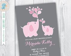 Elephant Baby Shower Birthday Predictions with ANY Accent Color ...