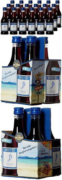 Barefoot Cellars California Merlot Plastic and Portable Mini Wine Bottles, 24 x 187ml