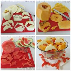 It's so easy to turn an ordinary fruit bowl into something fun for a beach or pool party by cutting fish, dolphin and lobster shapes out of melon.