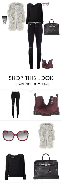 """""""On the way to Teterboro airport"""" by stylev ❤ liked on Polyvore featuring Closed, Dr. Martens, Bobbi Brown Cosmetics, Chloé, Yves Saint Laurent, Hermès and Sagaform"""