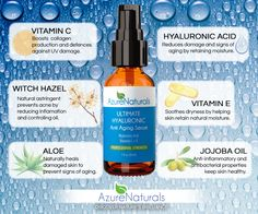 #Azure Natural's ULTIMATE #HYALURONIC Acid #AntiAging Serum with 10% Vitamin C + E is specially formulated to prevent the effects of aging and #sundamage $17.95 - Click here to purchase: http://www.azurenaturals.com/collections/ultimate-facial-serums/products/ultimate-hyaluronic-serum