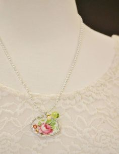 These broken china necklaces are so cute! Wear one alone or layer with coordinating necklaces.