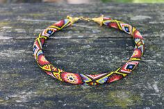 Beaded crochet rope necklace with African motif, Handmade jewelry, Beaded Necklaces geometric pattern, Beadwork, Patchwork, Gift for mom