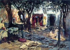Idle Moments. An Arab Courtyard, Oil by Frederick Arthur Bridgman (1847-1928, United States)