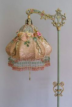 Victorian Lampshade with antique silk ribbon work flowers - Victorian Lampshade with antique silk ribbon work flowers -