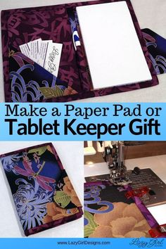 Make this easy and gorgeous fabric keeper for a pad of paper, or an electronic tablet like an iPad. A little pocket and pen holder, too. This organizer is also perfect for quick and easy gifts. Looks great in fabrics for guy gifts or gifts for her. Easy Sewing Projects, Sewing Hacks, Sewing Tutorials, Sewing Patterns, Sewing Tips, Sewing Ideas, Sewing Crafts, Art Projects, Sewing Basics