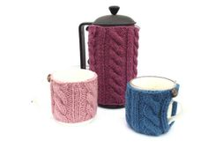 French Press Cozy Set Cafetiere Cosy Coffee door TheWoollyKnitter, £20.00