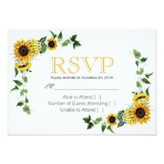 fall sunflower floral country barn wedding rsvp card winter wedding cyo marriage wedding party gift