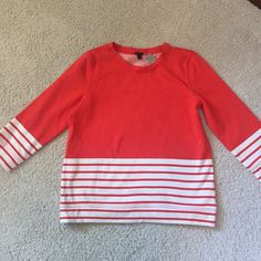 Red and cream comfy cozy sweatshirt. Brand new sweatshirt from JCrew in tomato red.   ✔️ Please submit your best offer using the blue offer button.  ✔️ Bundle 3+ items, get 20% off  No Trades, PayPal, or Negotiating in the comments. J. Crew Tops Sweatshirts & Hoodies