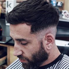 Low Razor Fade with Textured Fringe and Beard Mens Hairstyles With Beard, Black Men Hairstyles, Undercut Hairstyles, Haircuts For Men, Cool Hairstyles, Tape Up Haircut, Fade Haircut, Burst Fade Mohawk, Best Hair Loss Shampoo