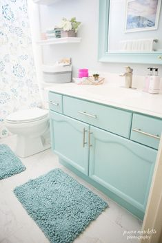 Teal and white bathroom with pink and gray accents.  Small bathroom before and after.  Southlake Texas blogger and photographer. - www.jessicamarchetti.com/blog