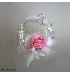 Porte alliances plume et rose