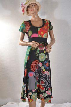 Robe longue noire motifs DESIGUAL  taille 40/42 ref 0716241 #fripie