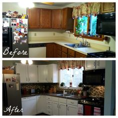 Before and after kitchen renovation on a budget!  Giani Granite Countertop Paint and Nuvo Cabinet Paint.  www.gianigranite.com www.nuvocabinetpaint.com