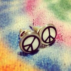 New Peace Of Swag Hipster Stud White & Black Peacesign Hippie Butterfly Earrings  $4.99 FREE US SH