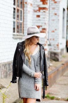 Hat + leather jacket + lace bra on Alexa Dagmar