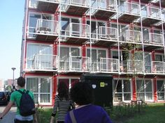 shipping container apartment complex - Google Search Apartment Complexes, Modular Homes, Rental Apartments, Beach Hotels, Space Saving, Container, Exterior, Camping, Ship