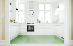 What a great pop of color in this white kitchen. It is one large sheet of Marmoleum linoleum. Green Kitchen, Kitchen Colors, Kitchen Design, Linoleum Flooring, Kitchen Flooring, Penny Flooring, White Flooring, Hallway Flooring, Farmhouse Flooring