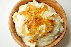 Mashed Potatoes with Caramelized Onions and Goat Cheese
